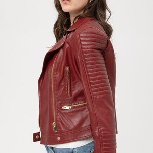 Faux Leather Moto Jacket - Wine